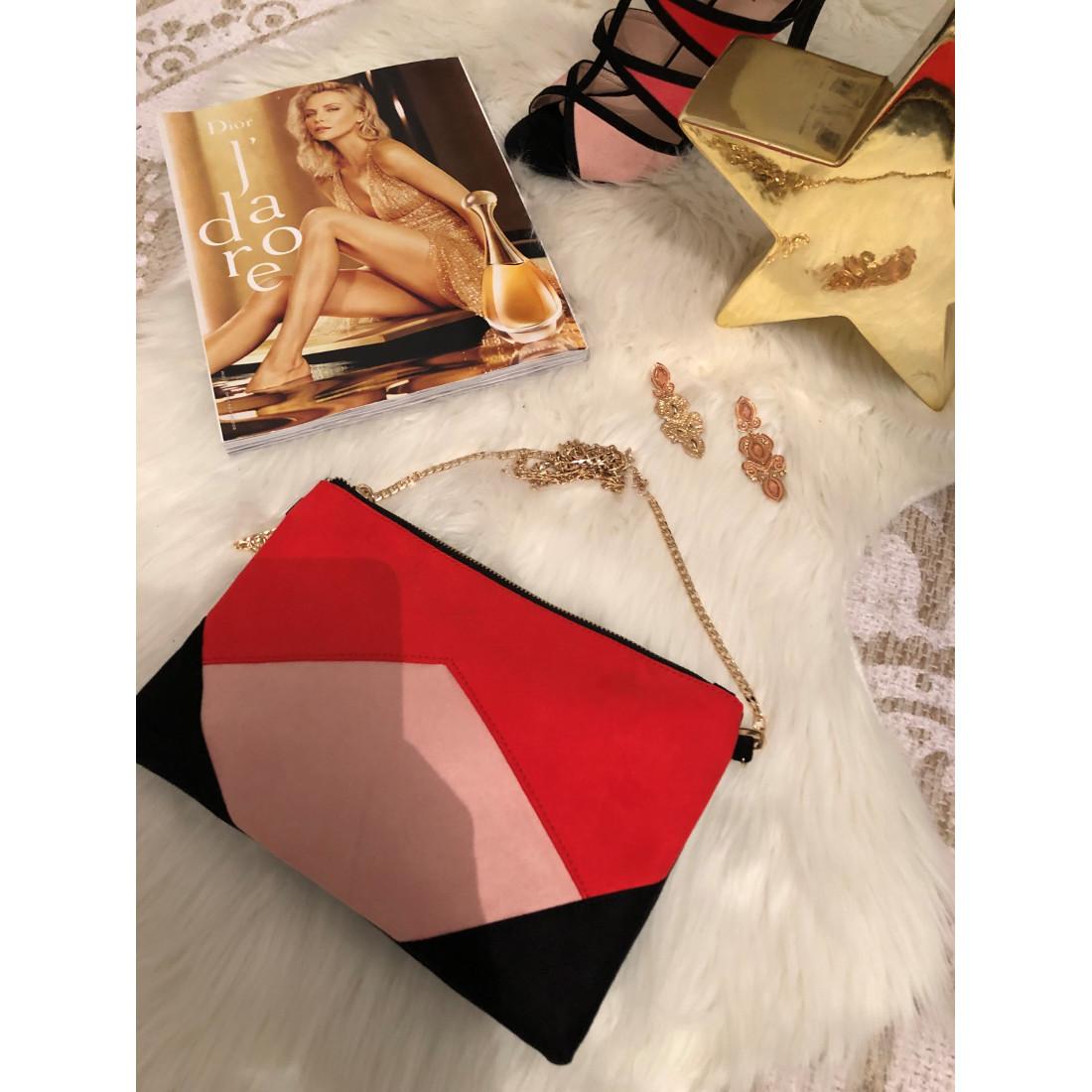 "Petit sac pochette  en suedine ""rose rouge"""