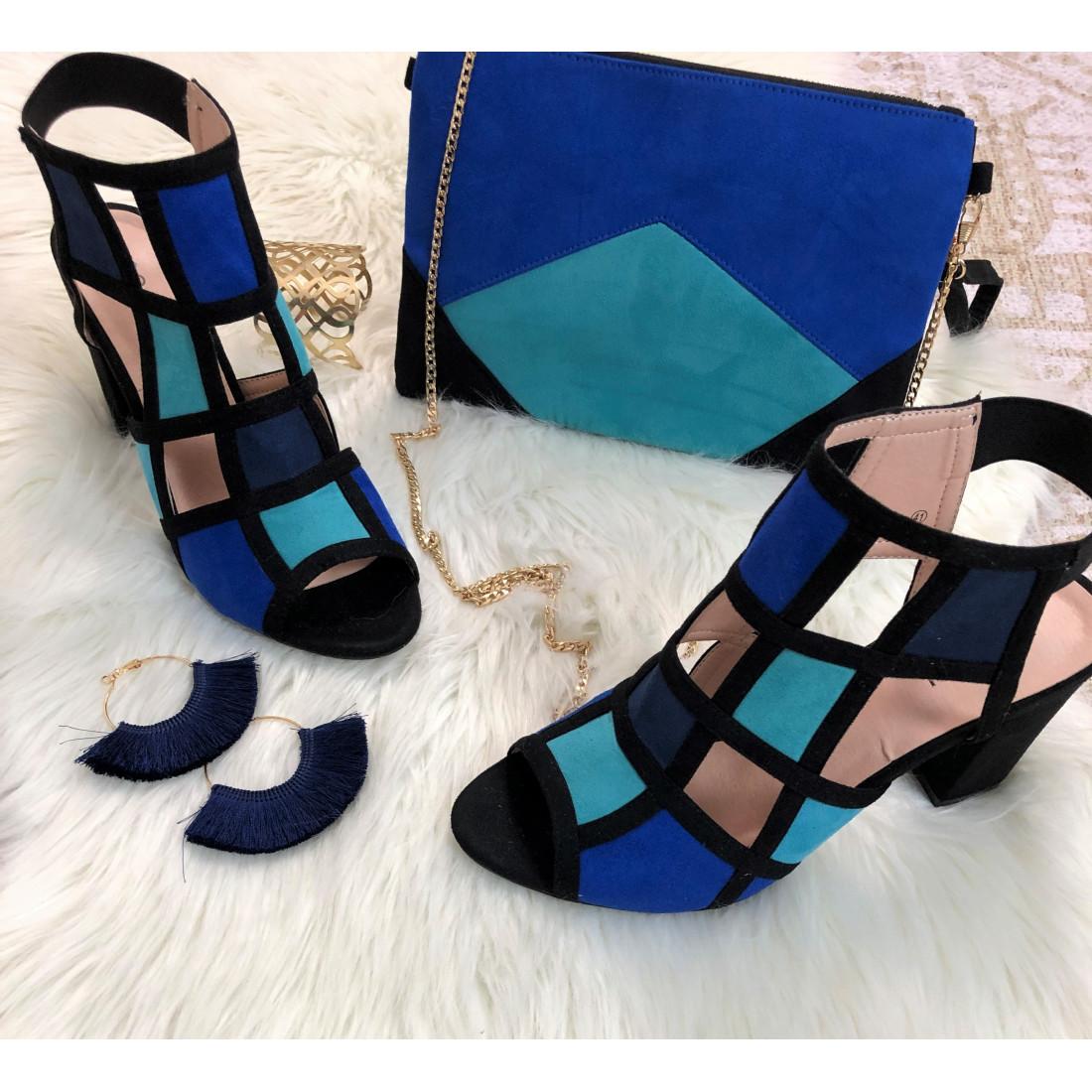 Sandale à talon en suédine bleu