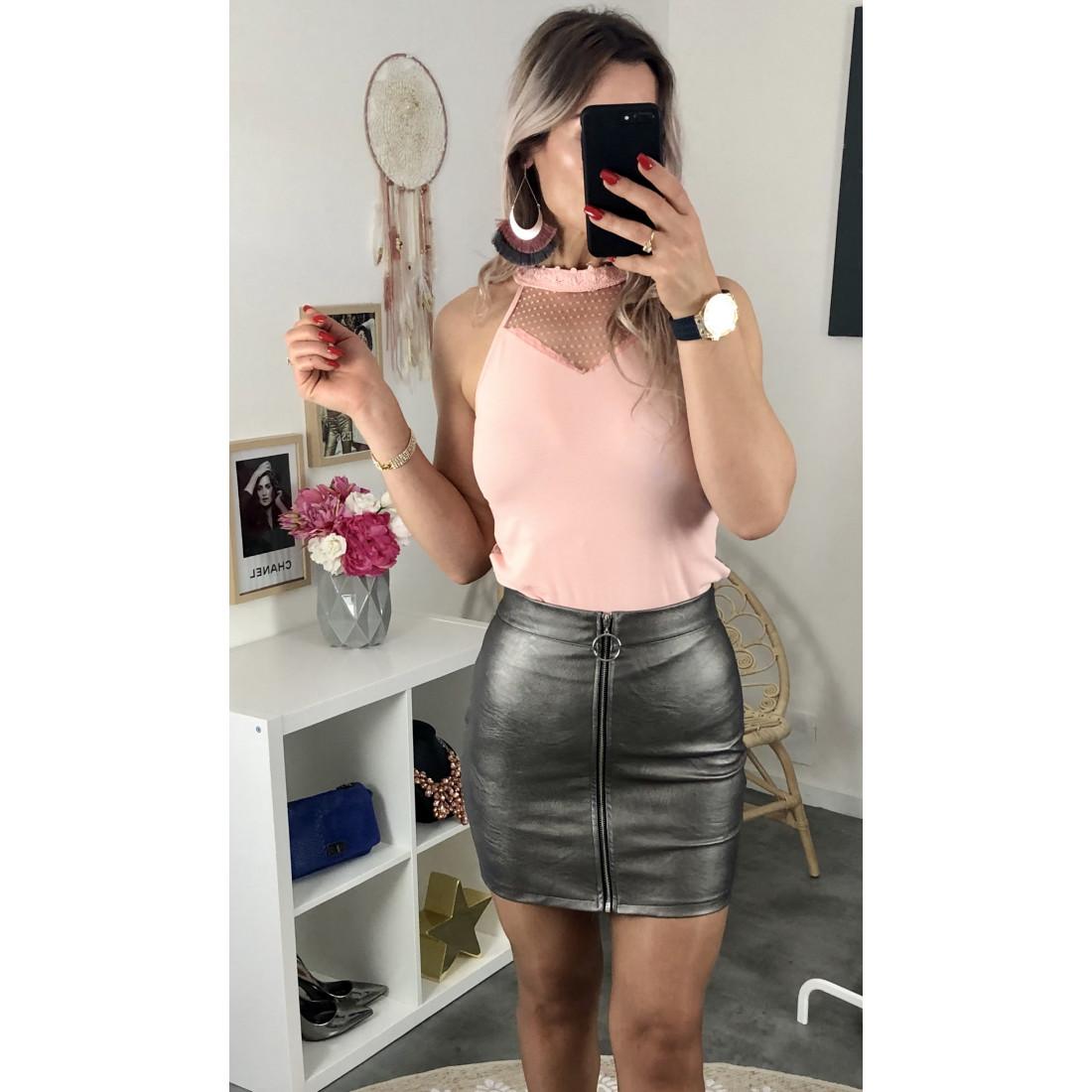 Jupe simili-cuir gris argent