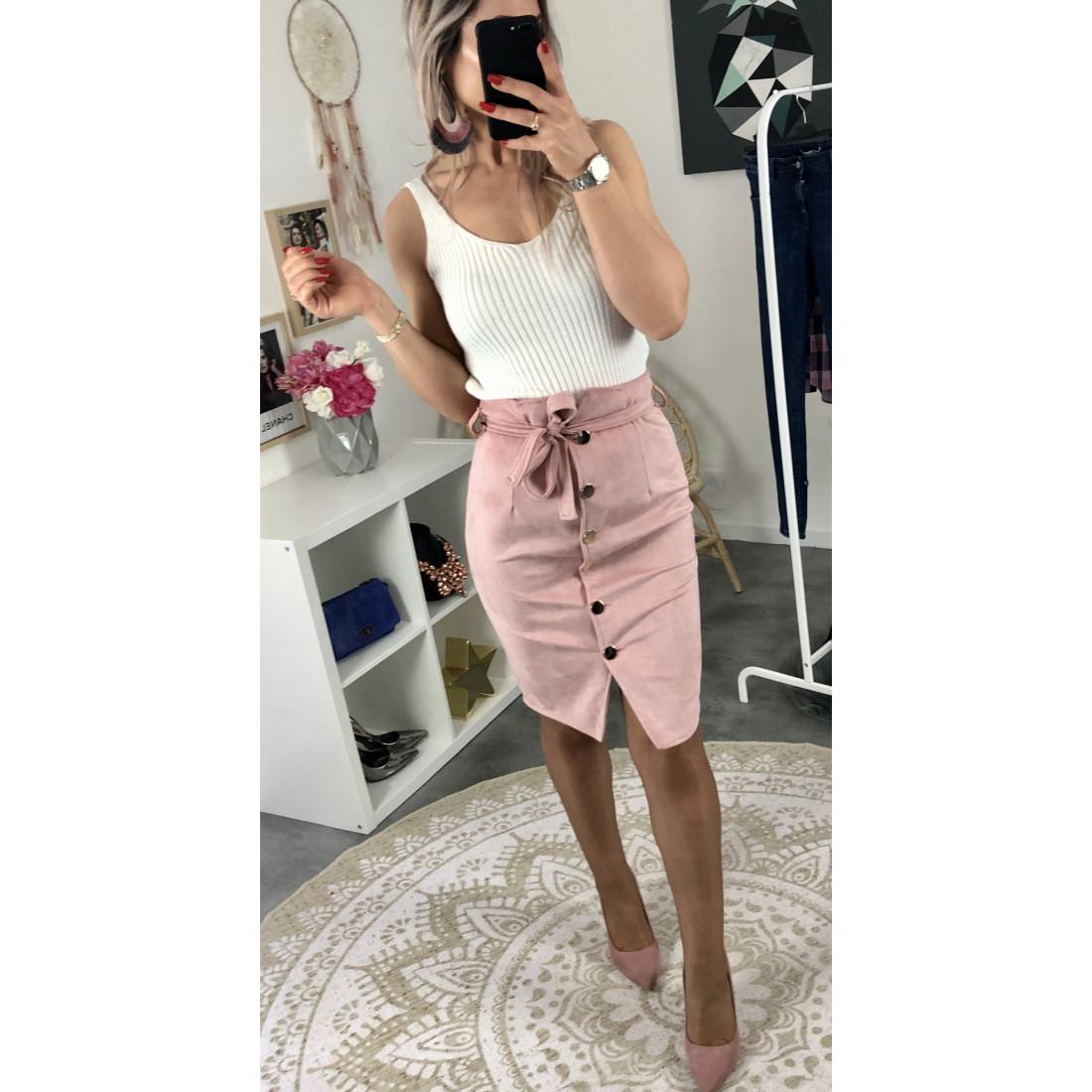 "Jupe taille haute ""style daim ""rose"