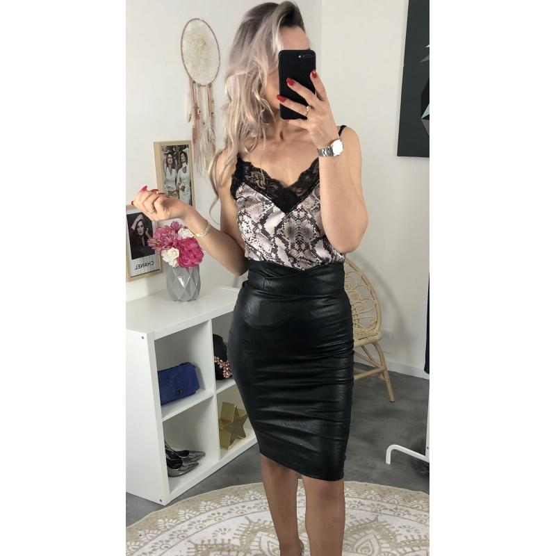 "Jupe taille haute ""style cuir""noire"