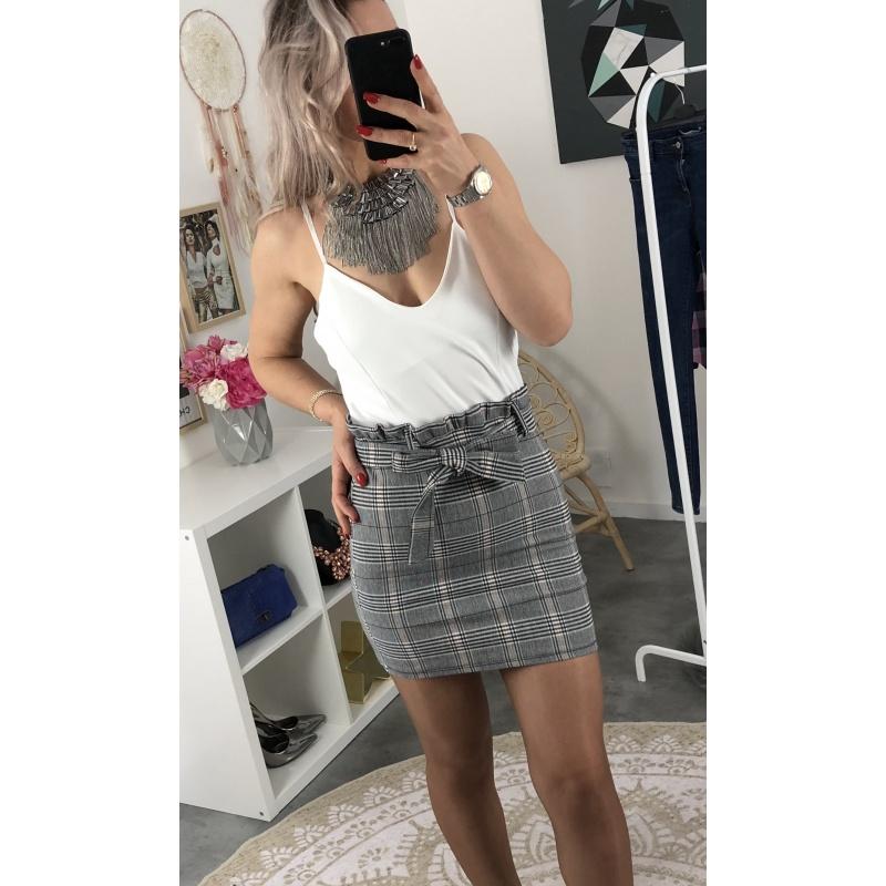 Robe jupe à carreaux effet deux pièces blanche