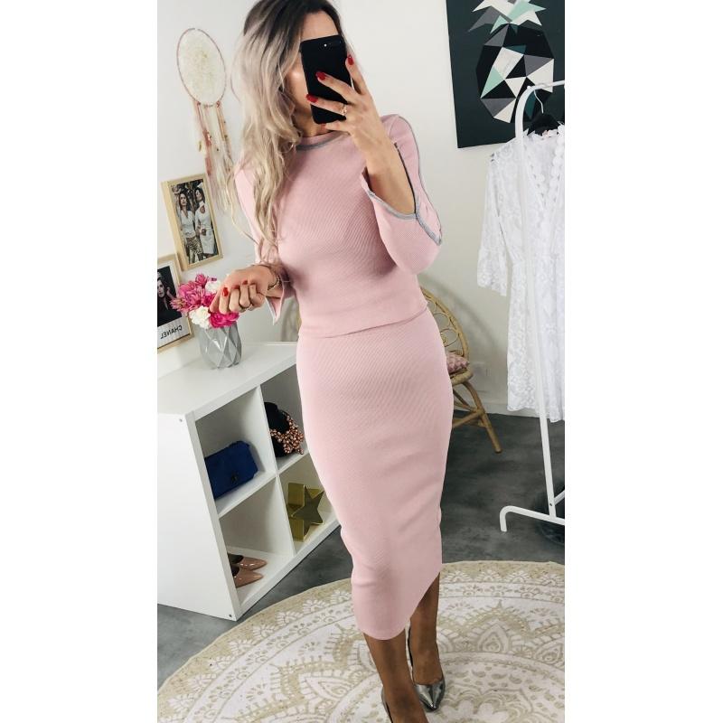 Ensemble côtelé jupe-top rose