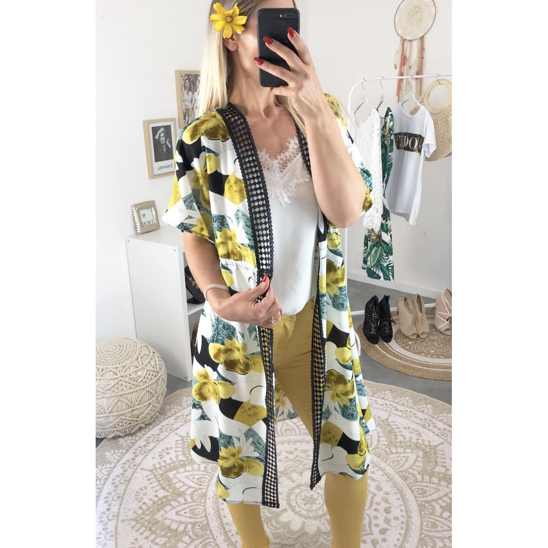 Gilet kimono imprimé fleuri moutarde