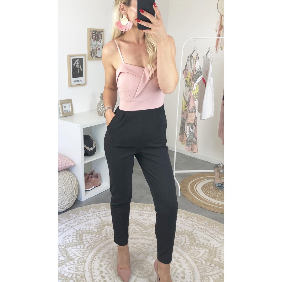 Combinaison pantalon buste joli volant rose