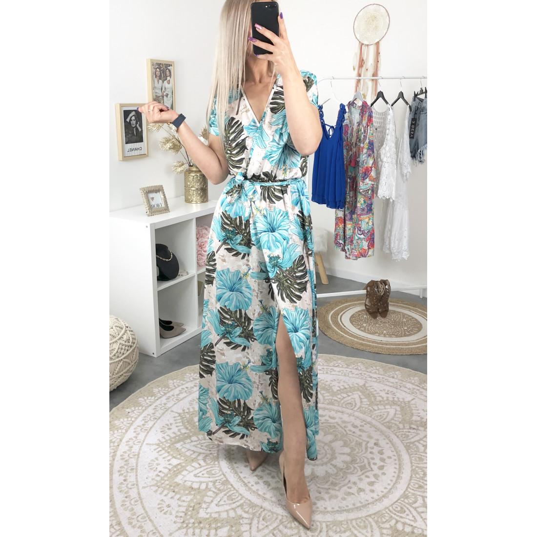 Imprimé Longue Robe Manche Tropical Courte Turquoise shdCBxotQr
