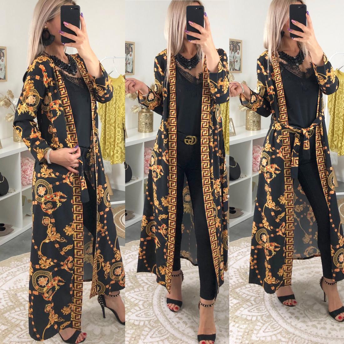 Gilet kimono long imprimé créateur noir