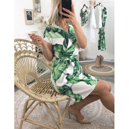 Robe mi-longue manches courtes imprimé tropical