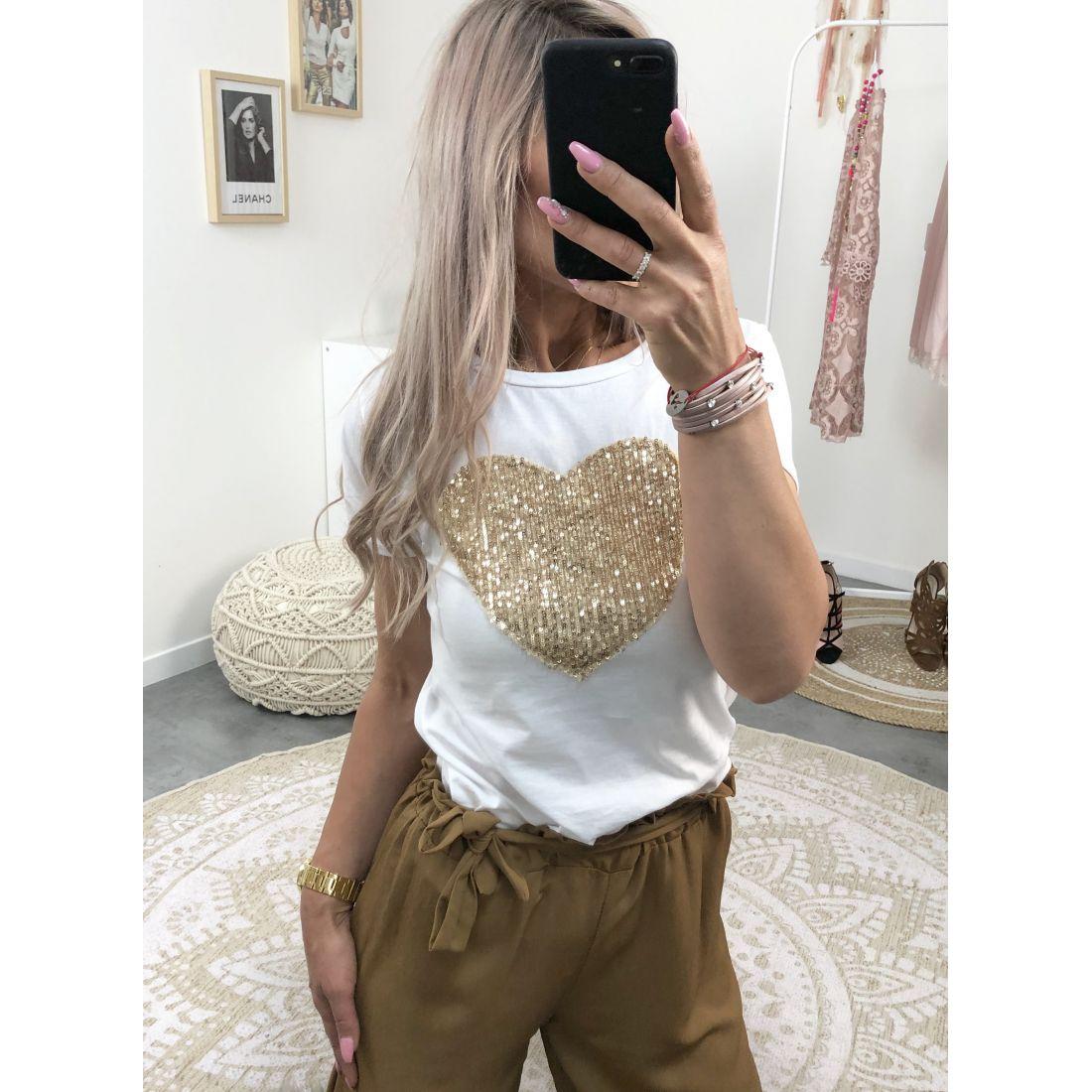 Tee shirt blanc coeur de paillette gold