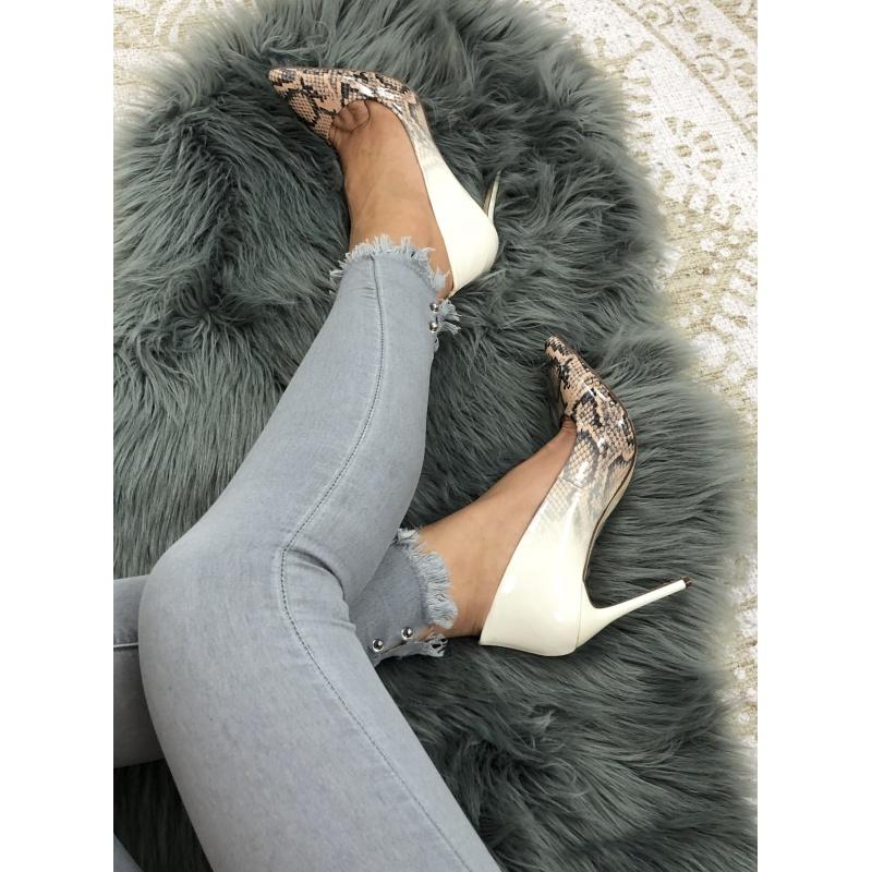 Jean's gris clair cheville bijoux