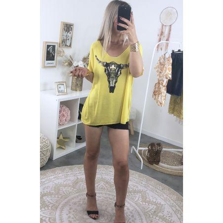 Tee shirt ample maille moutarde imprimé boho