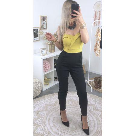 Combinaison pantalon buste joli volant moutarde