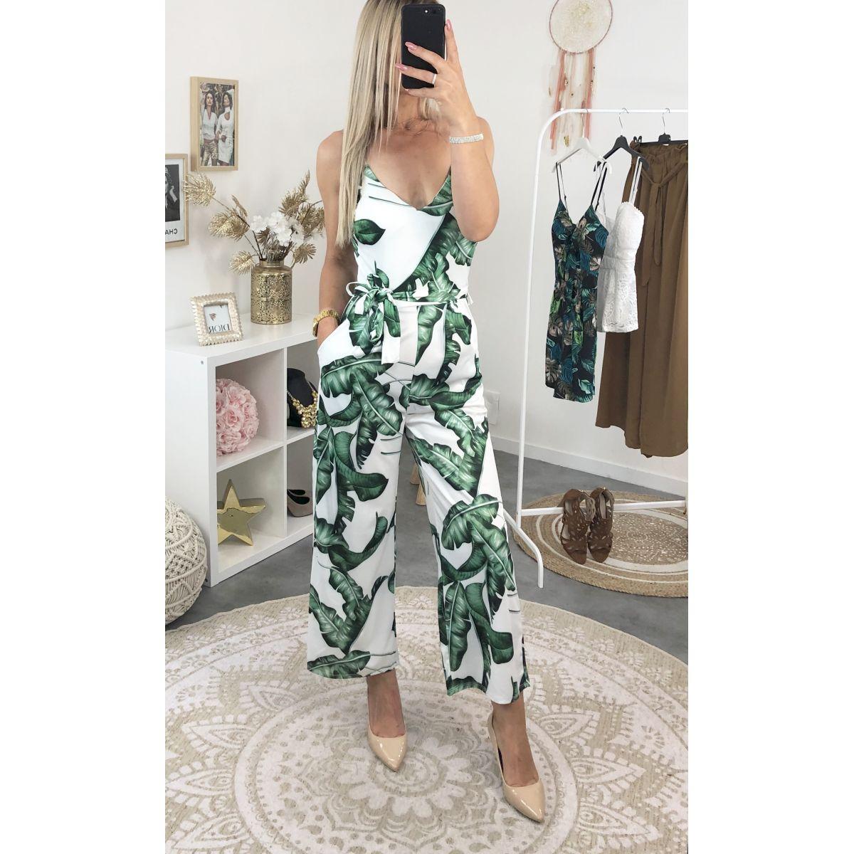 Imprimé 78 Pantalon Combinaison Blanches Tropical DWYIHE29