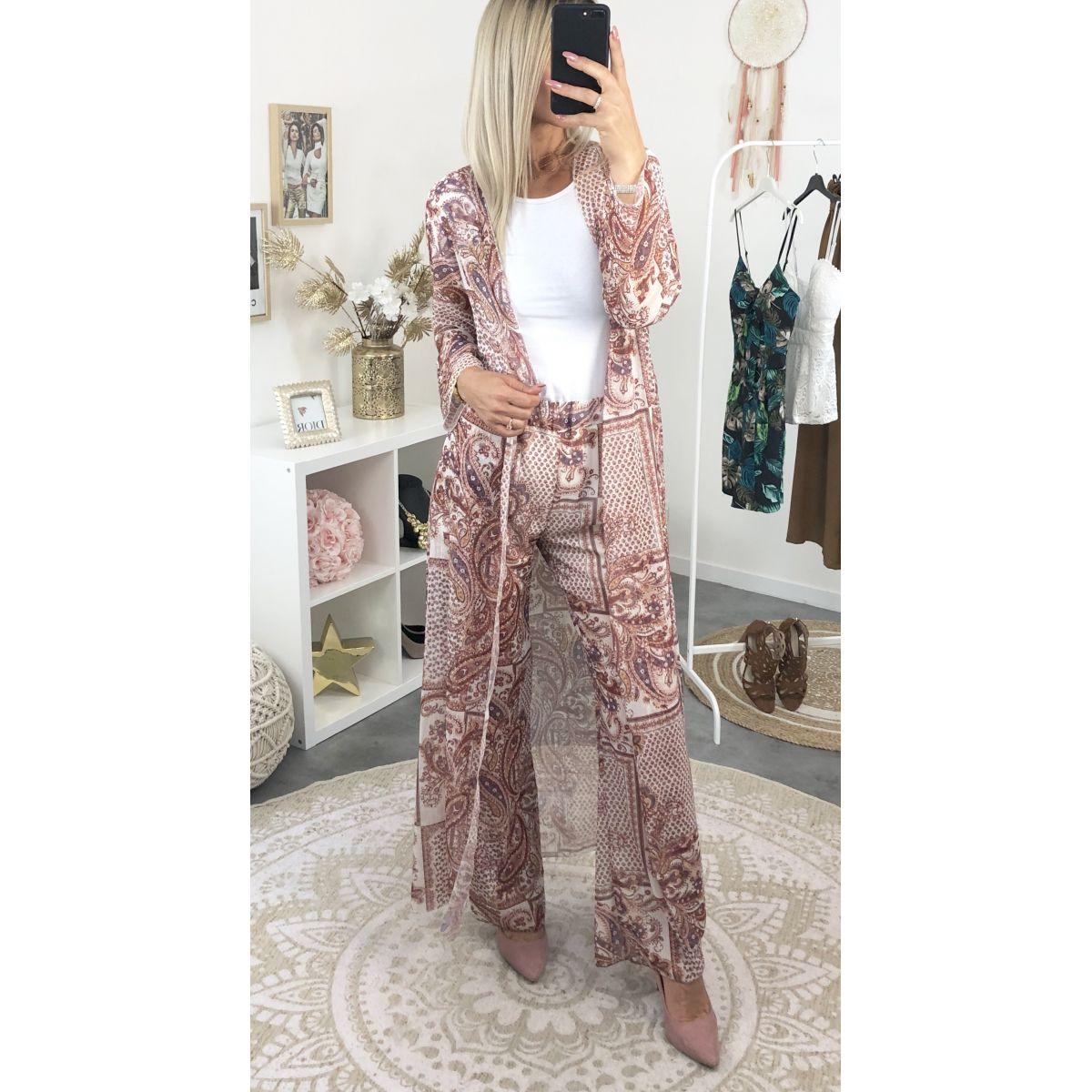 Long Kimono Pantalon Rose Voile Et En Lumineux Imprimé Vieux Ensemble hdsCtQr