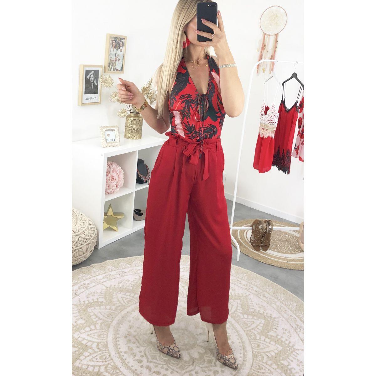 Body style maillot dos nue rouge et imprimé