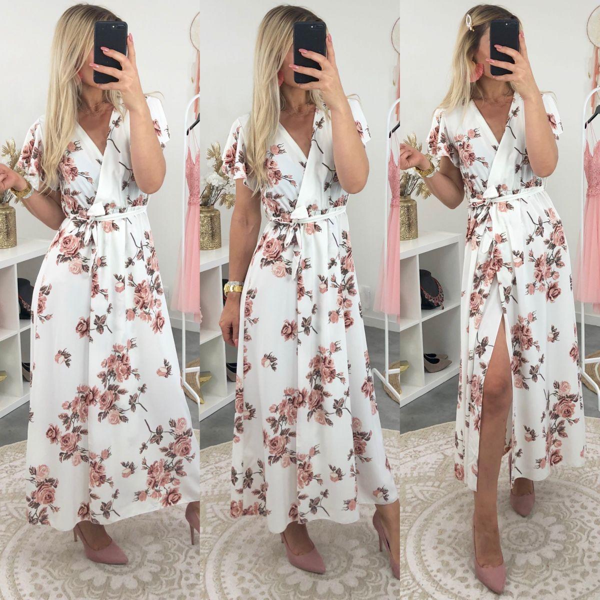 Robe longue manches courtes blanche imprimé roses rose