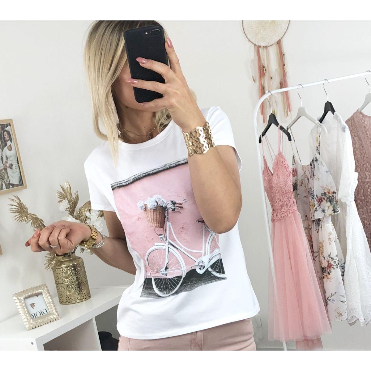 Tee shirt blanc imprimé bike rose