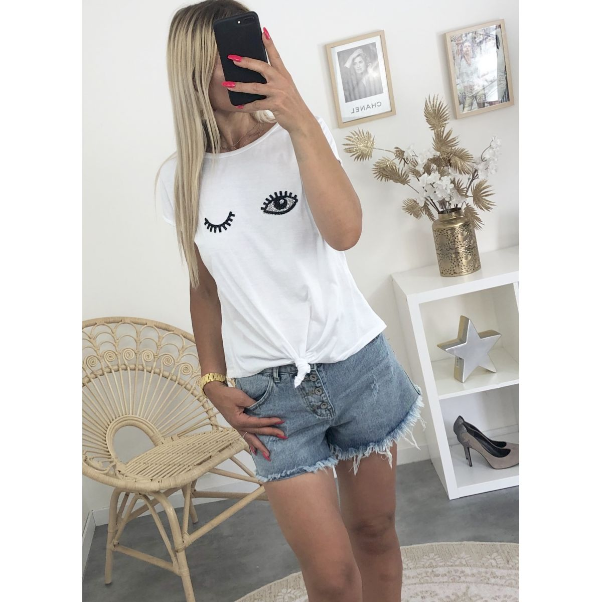 "Tee shirt blanc noué"" eyes"""