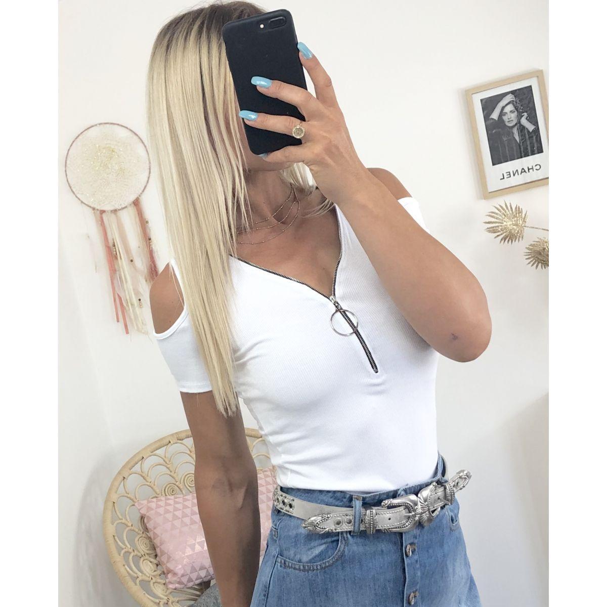 Top blanc côtelé épaules ajourées et zipé