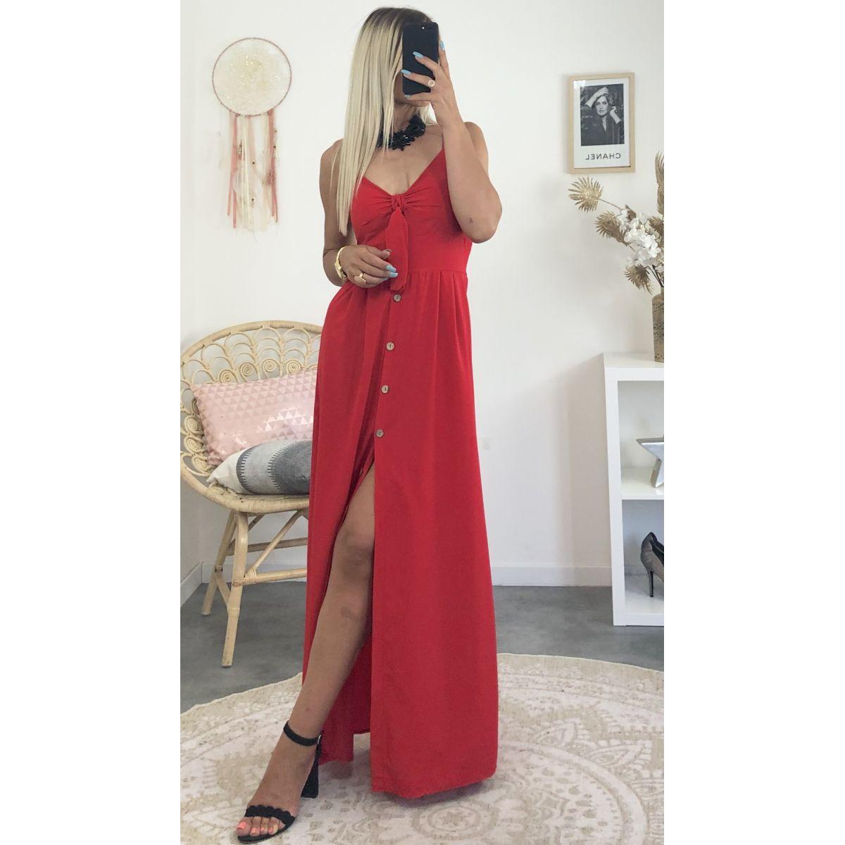 Robe longue rouge boutonné