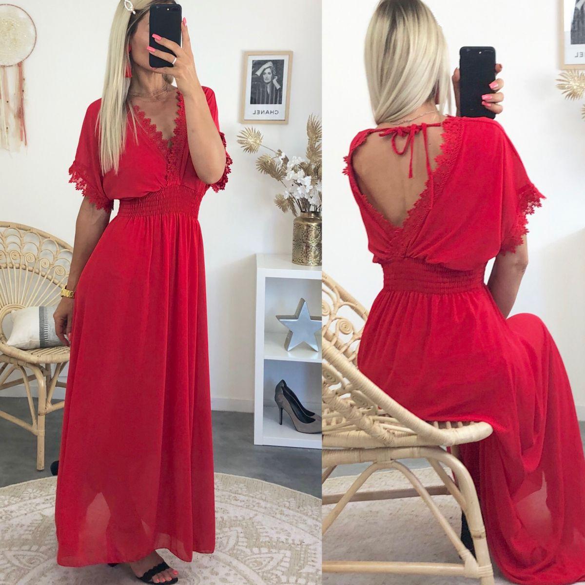 Robe longue voile et dentelle rouge