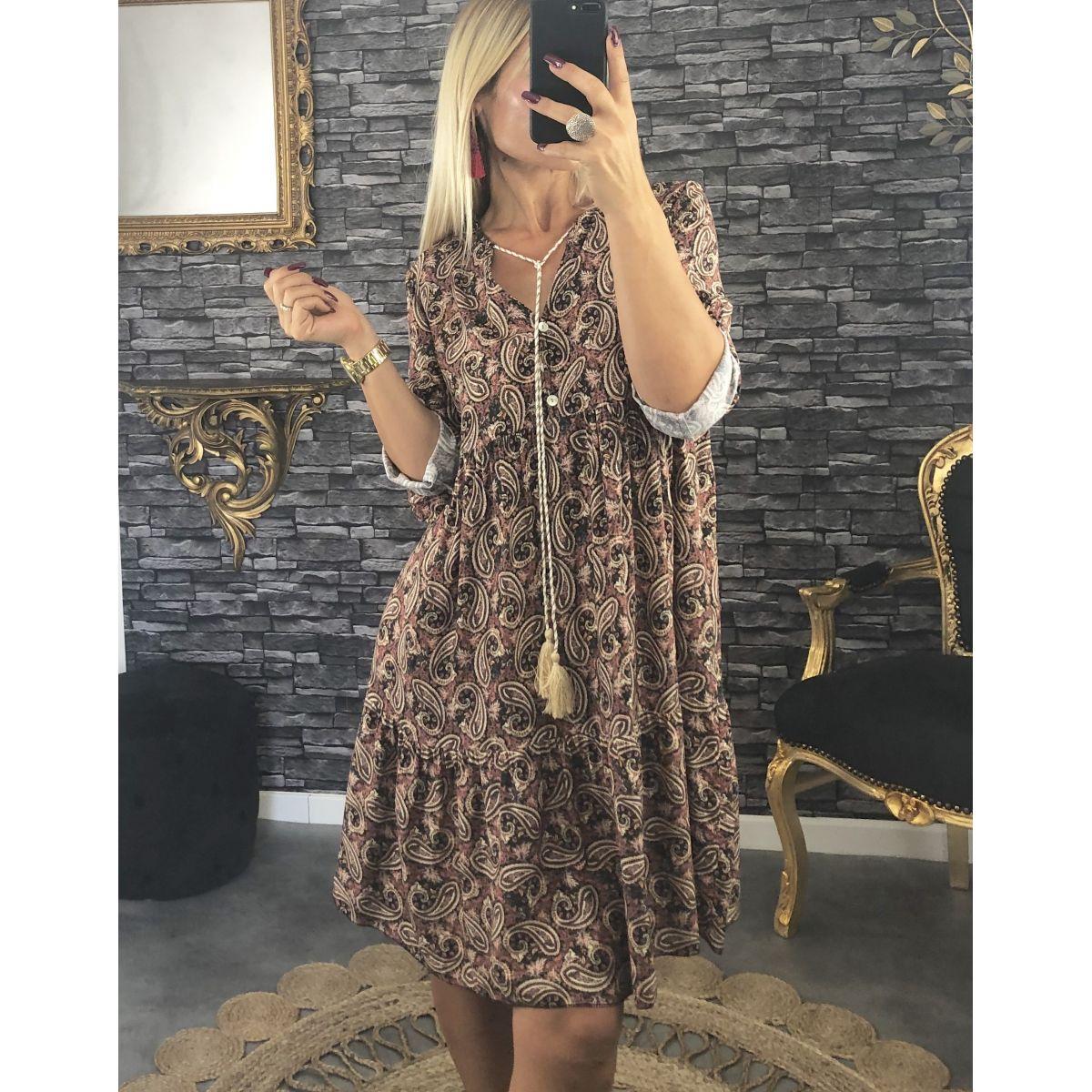 Robe mi-longue coupe ample vieux rose et imprimé