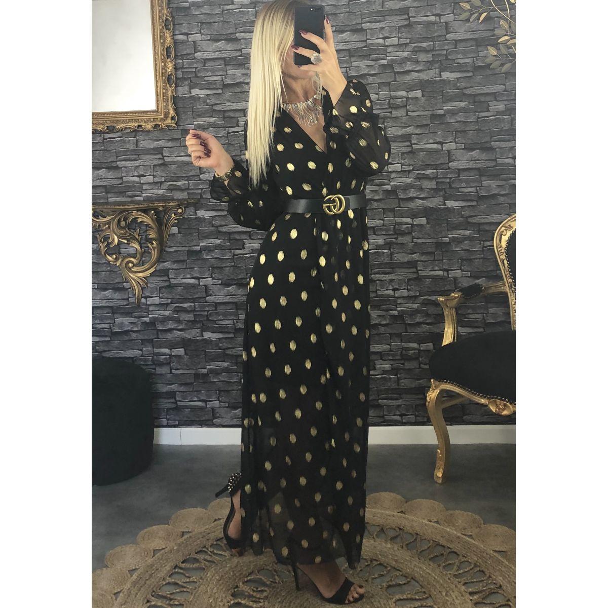 Robe longue cache coeur noire détail gold