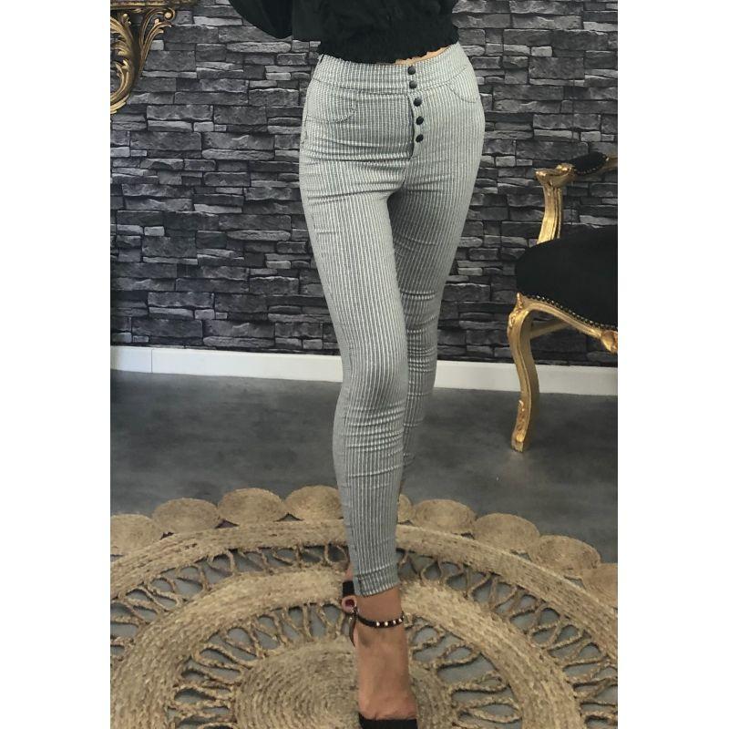 Pantalon legging taille haute carreaux gris et lumineux