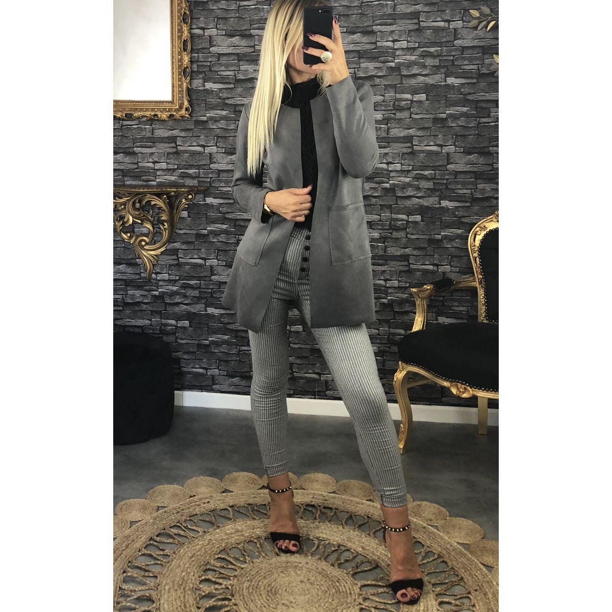 Veste  légère mi-longue en suédine grise