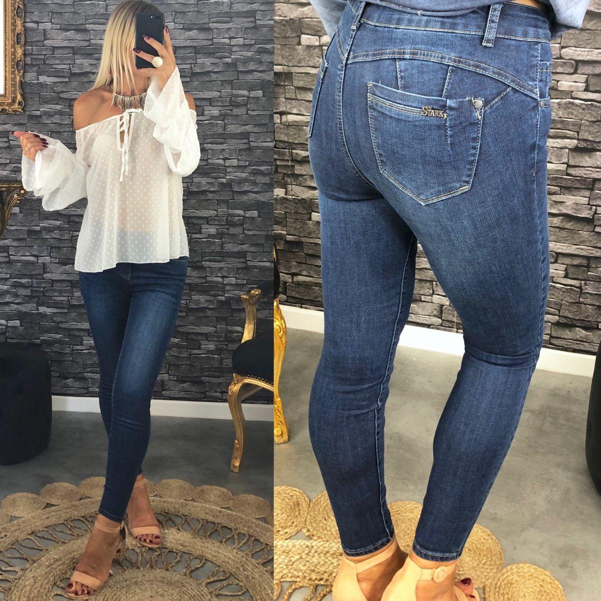 "Jean's slim taille haute bleu brut ""push up"""