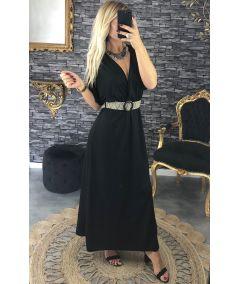 Robe longue  fluide noire et sa ceinture boucle