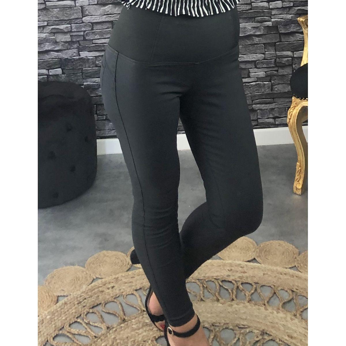 Pantalon enduit style legging noir
