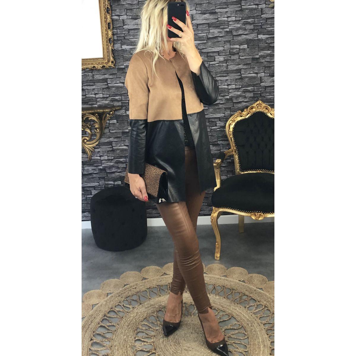 Veste bi-matière suédine camel et style cuir noir