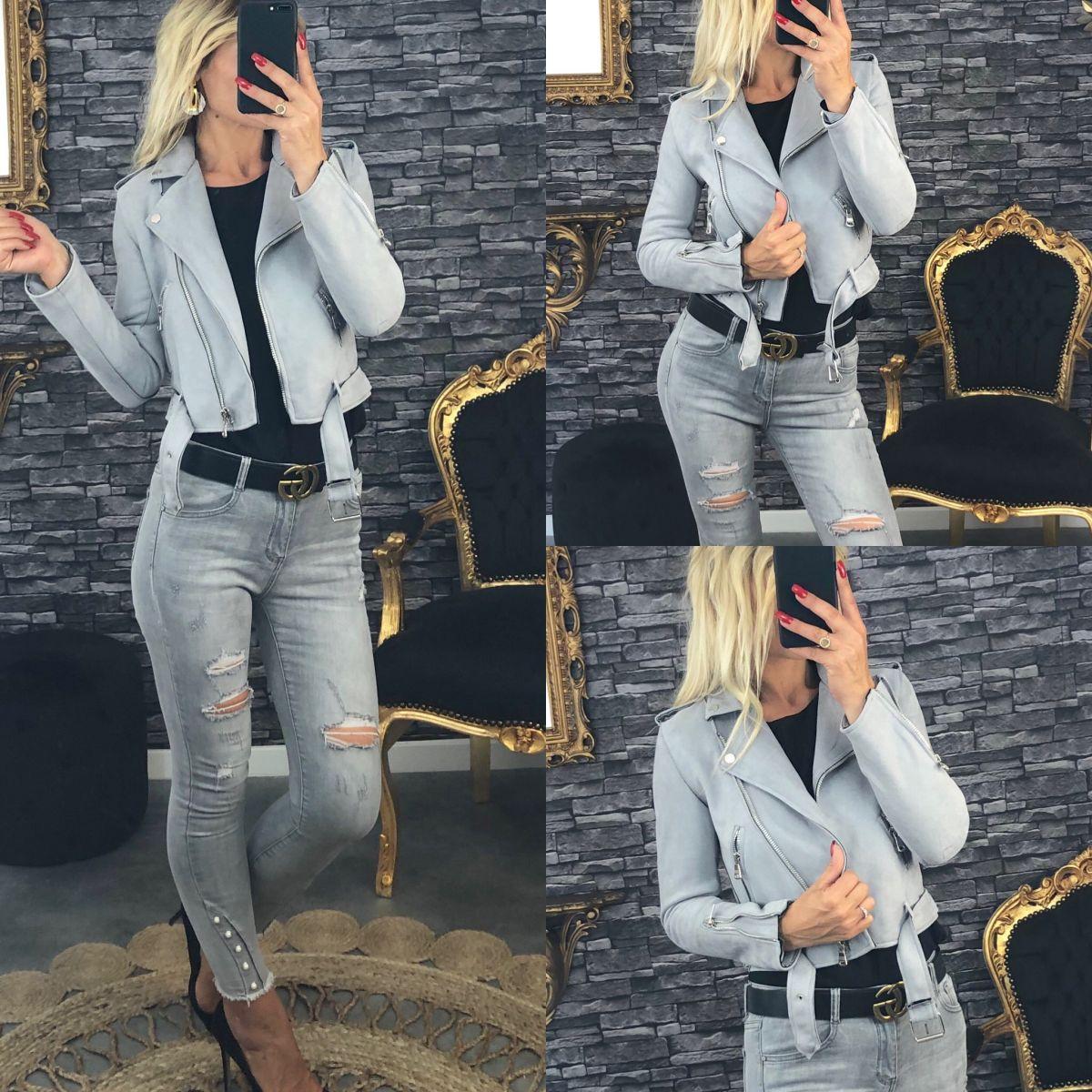 Perfecto style daim gris clair 2