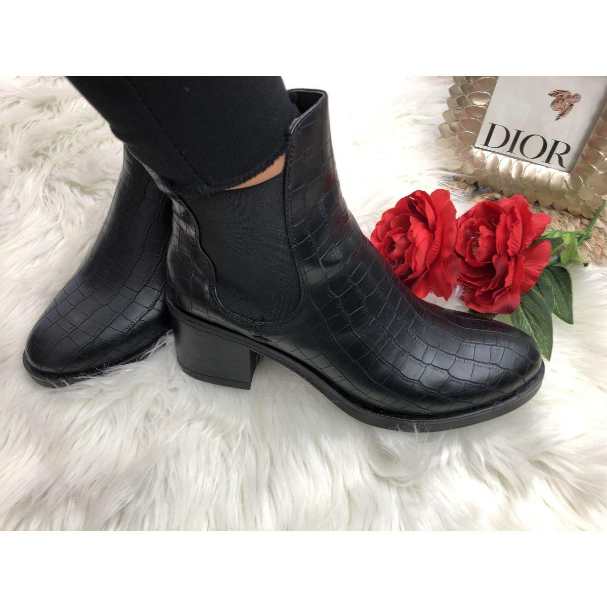 Boots style cuir et croco noire
