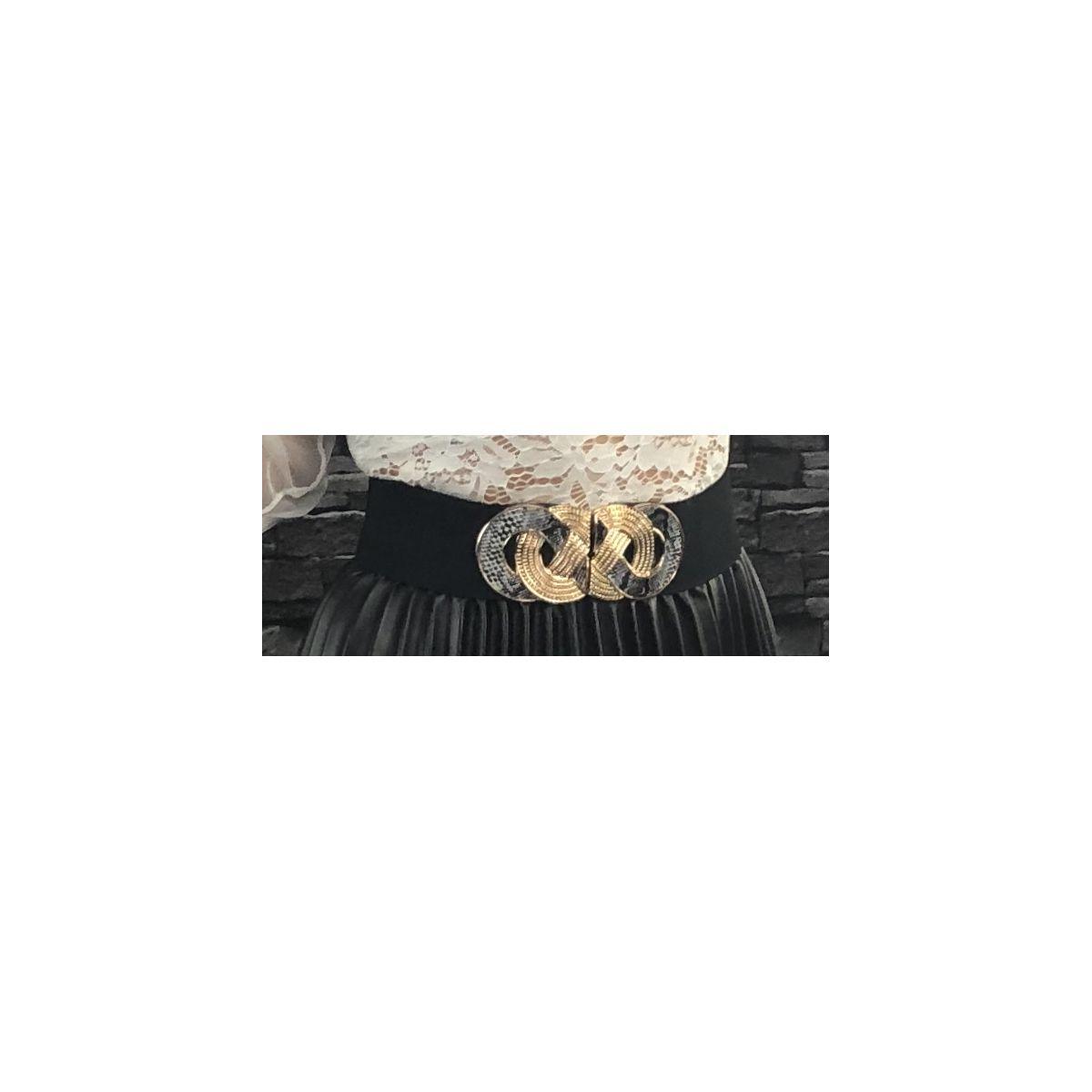 """Ceinture élastique noire boucles anneaux """"silver-gold"""""""