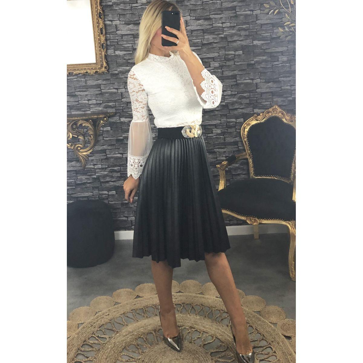 Jupe simili cuir plissé noire