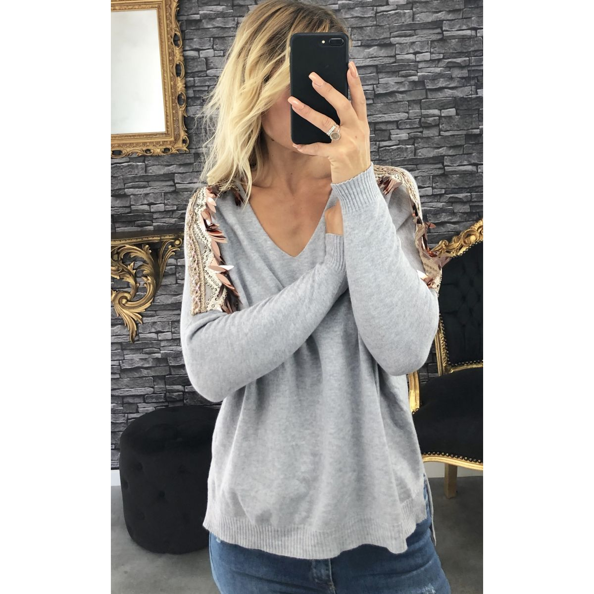 Pull coupe oversise épaule joli sequin gris