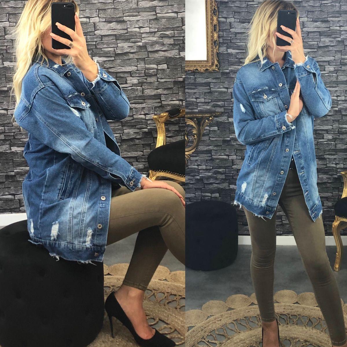 """Veste en jean's mi-longue coupe """"oversise""""et destroy"""