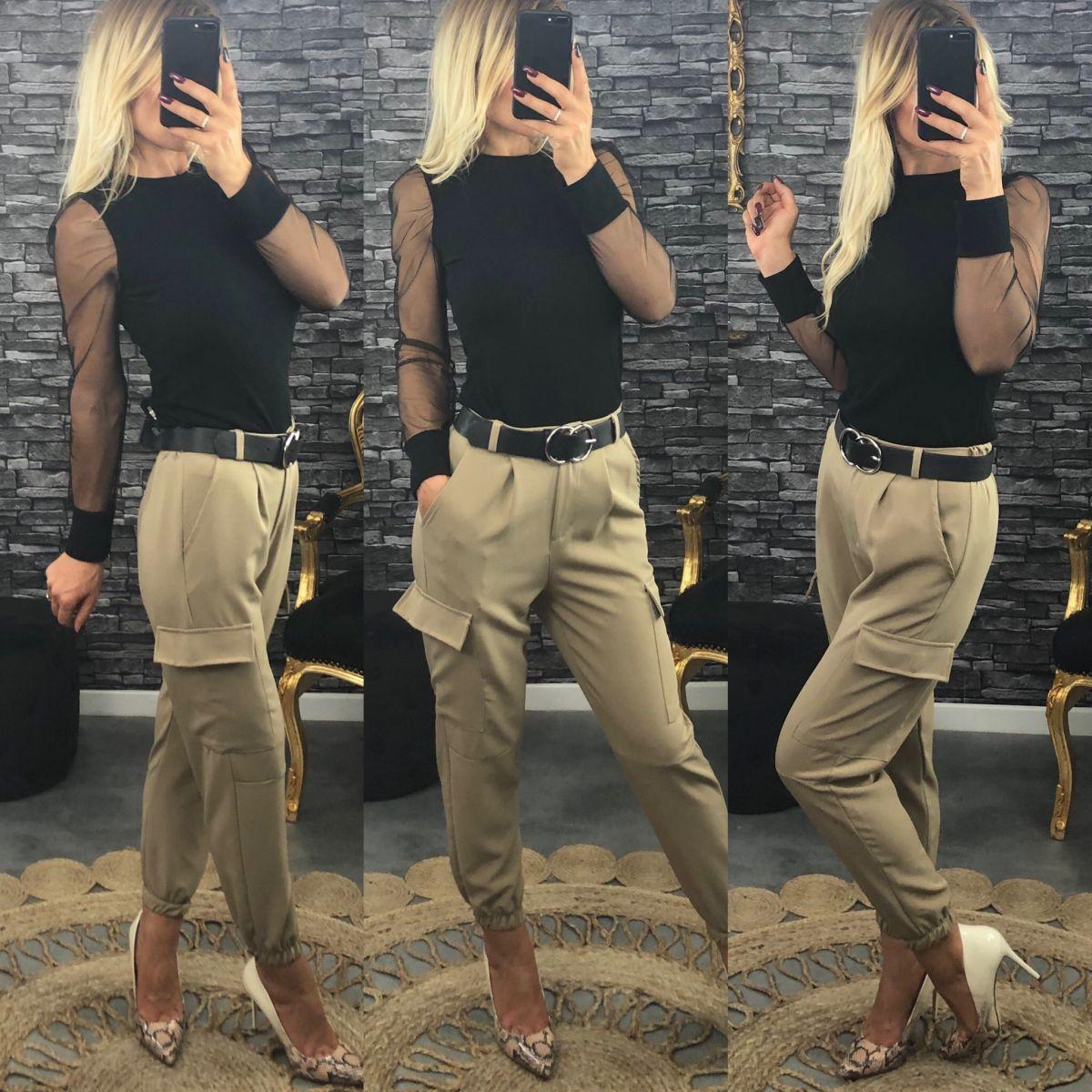 Pantalon fluide et poches beige