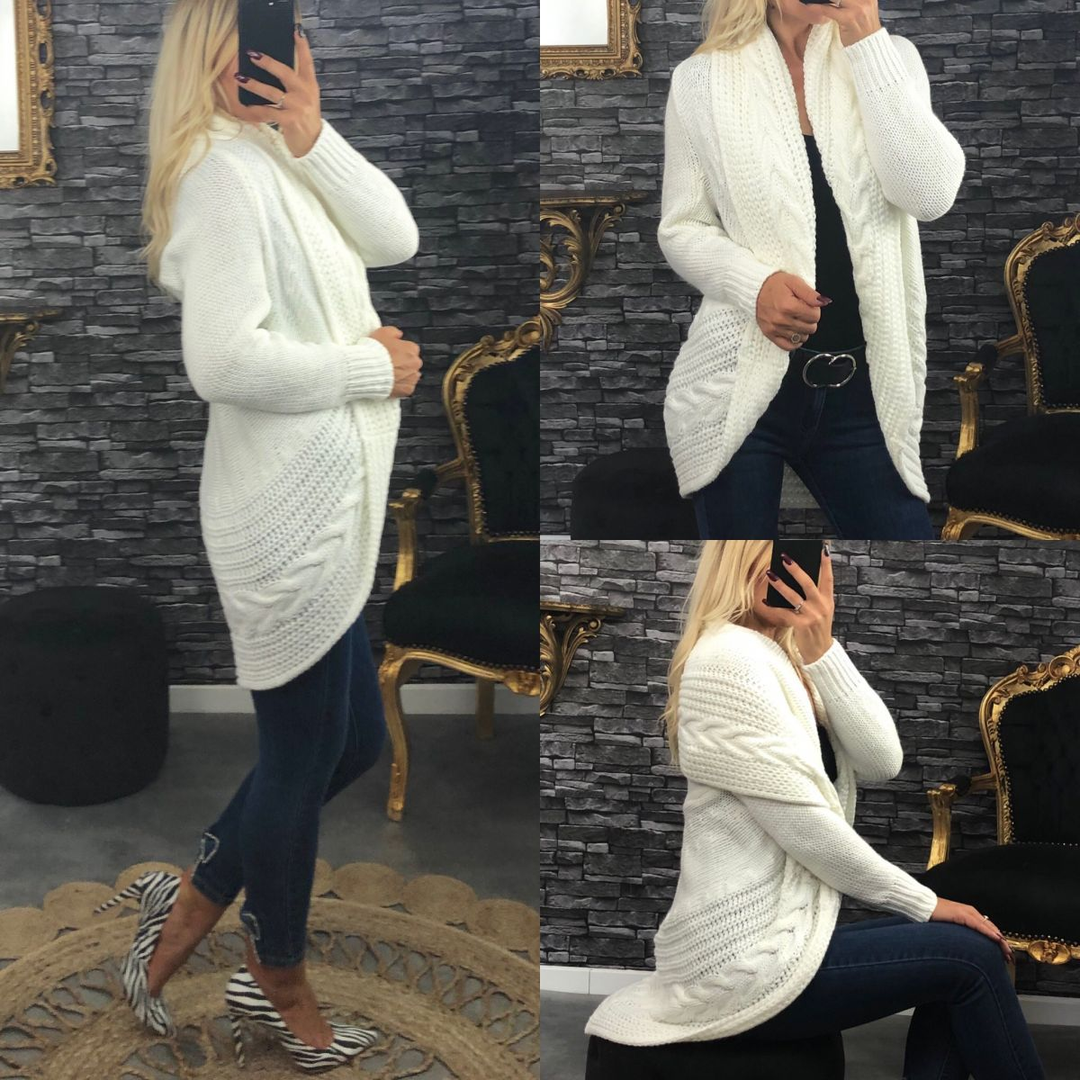 Gilet en grosse maille so-chic blanc