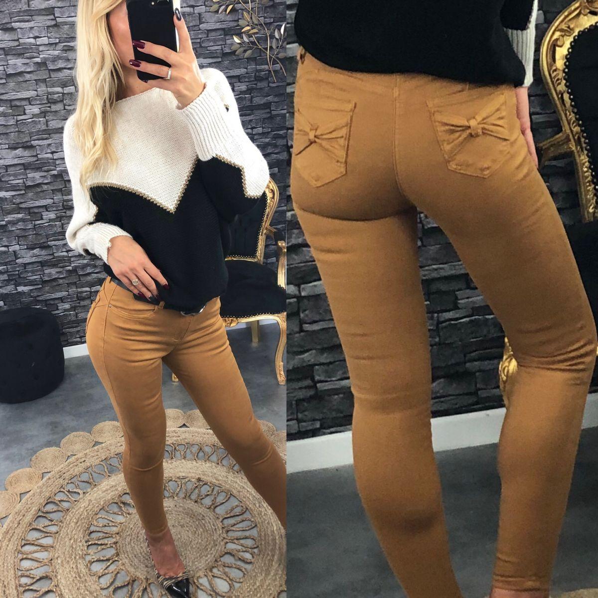 """Jean's slim camel poches """"joli noeud"""""""