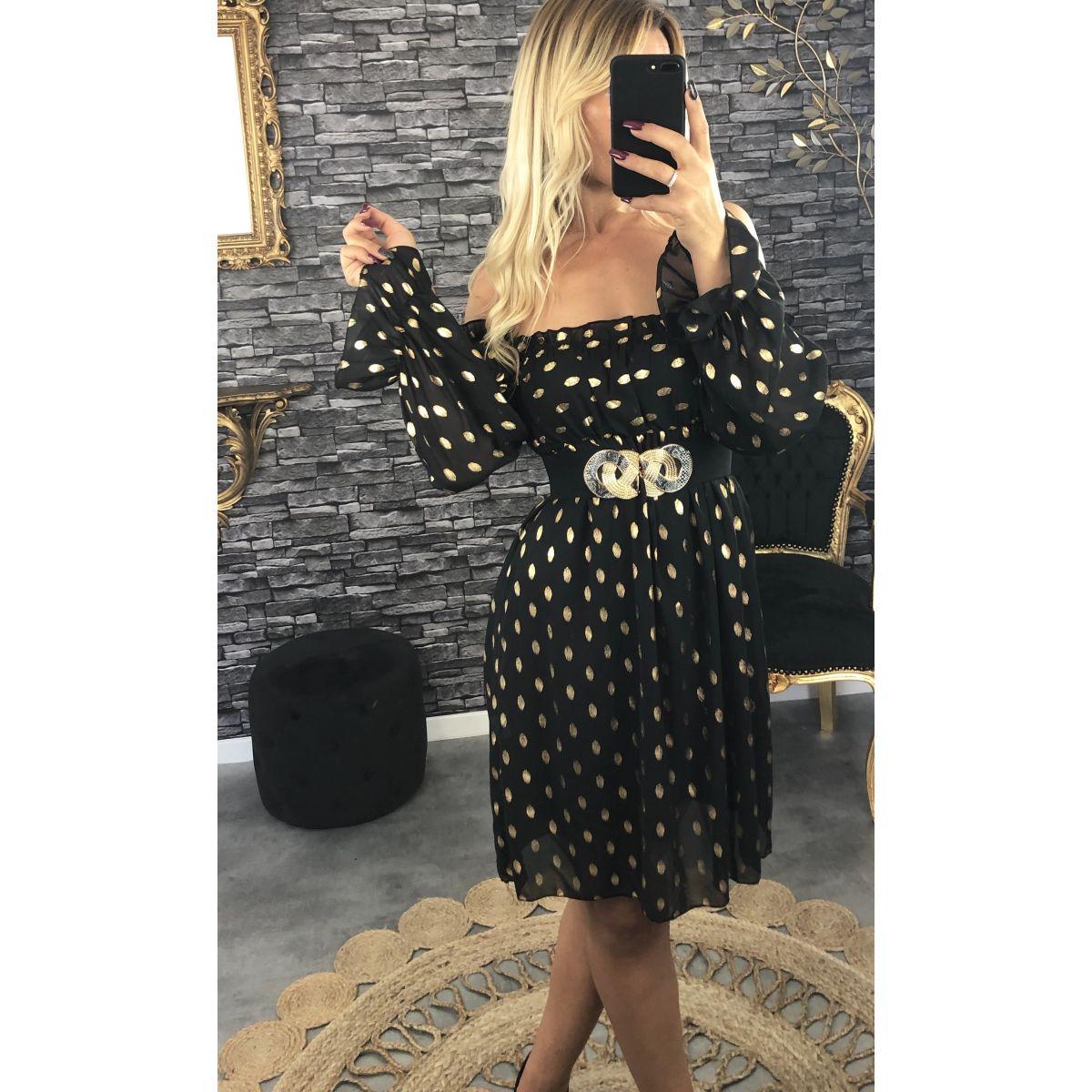 Robe mi-longue porté épaule noir-gold
