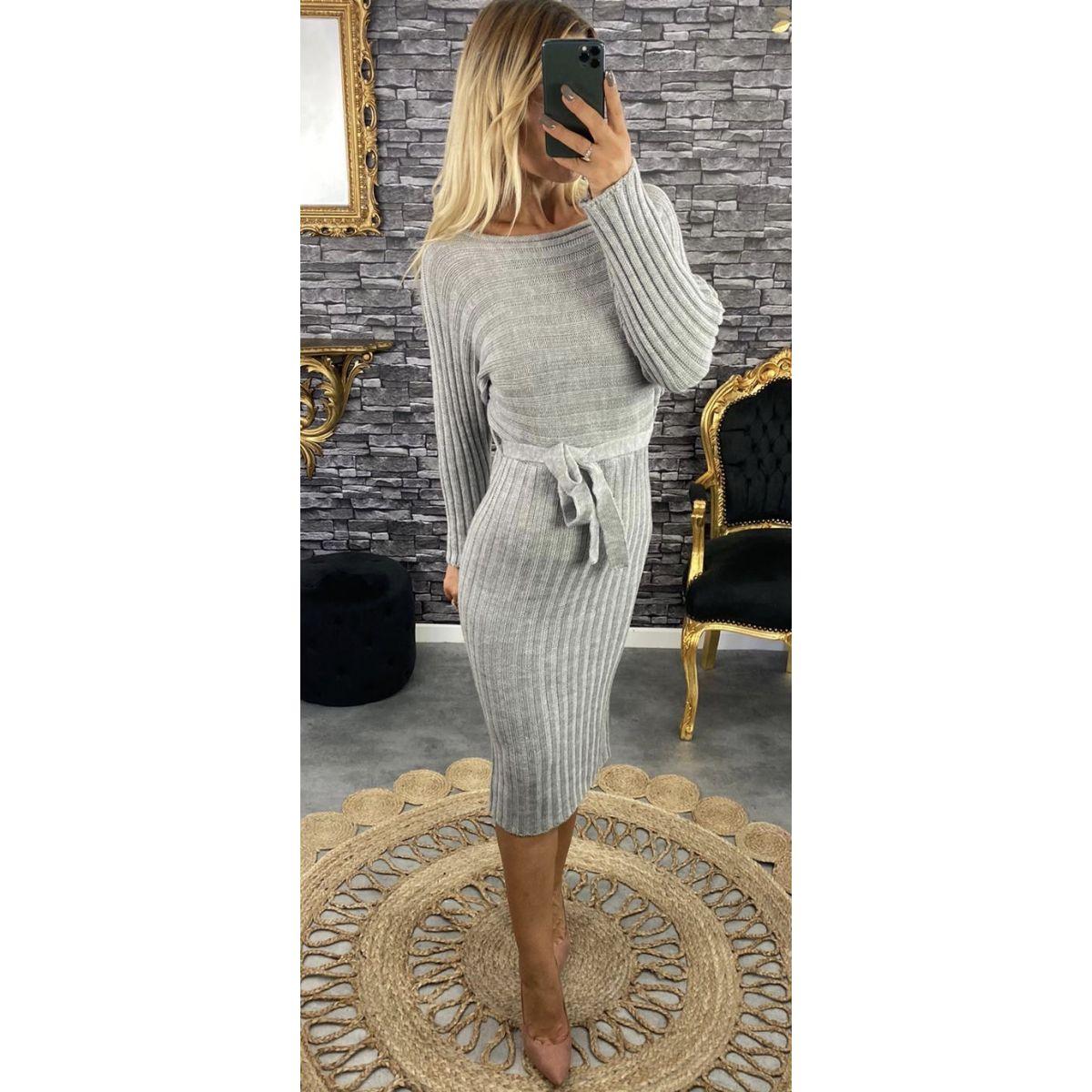 Robe longue en maille grise manches élargie