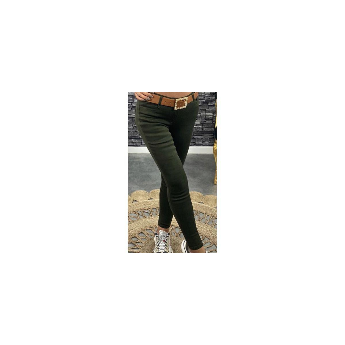 Jean's slim taille haute kaki foncé