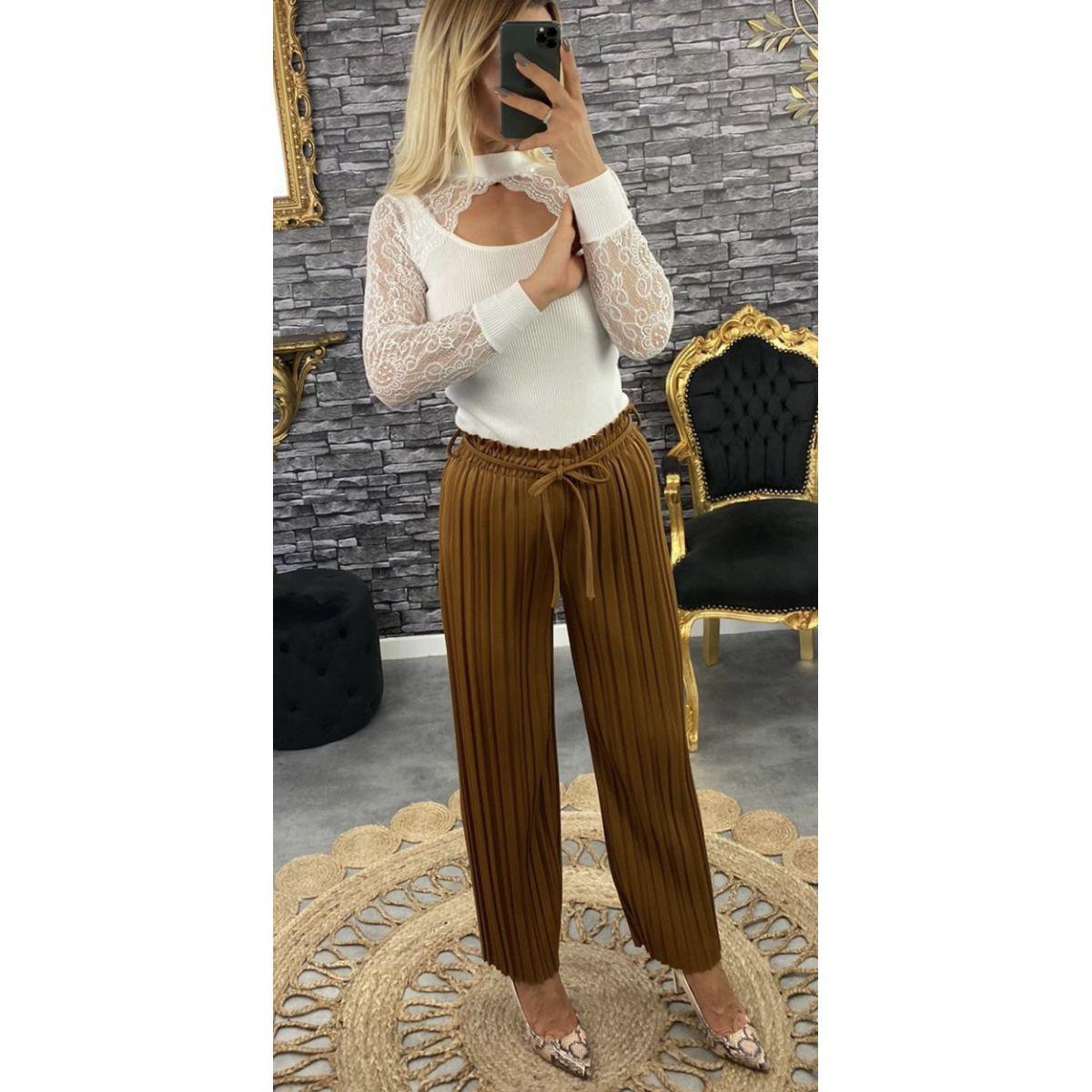 Pantalon coupe droite plissé camel-lumineux