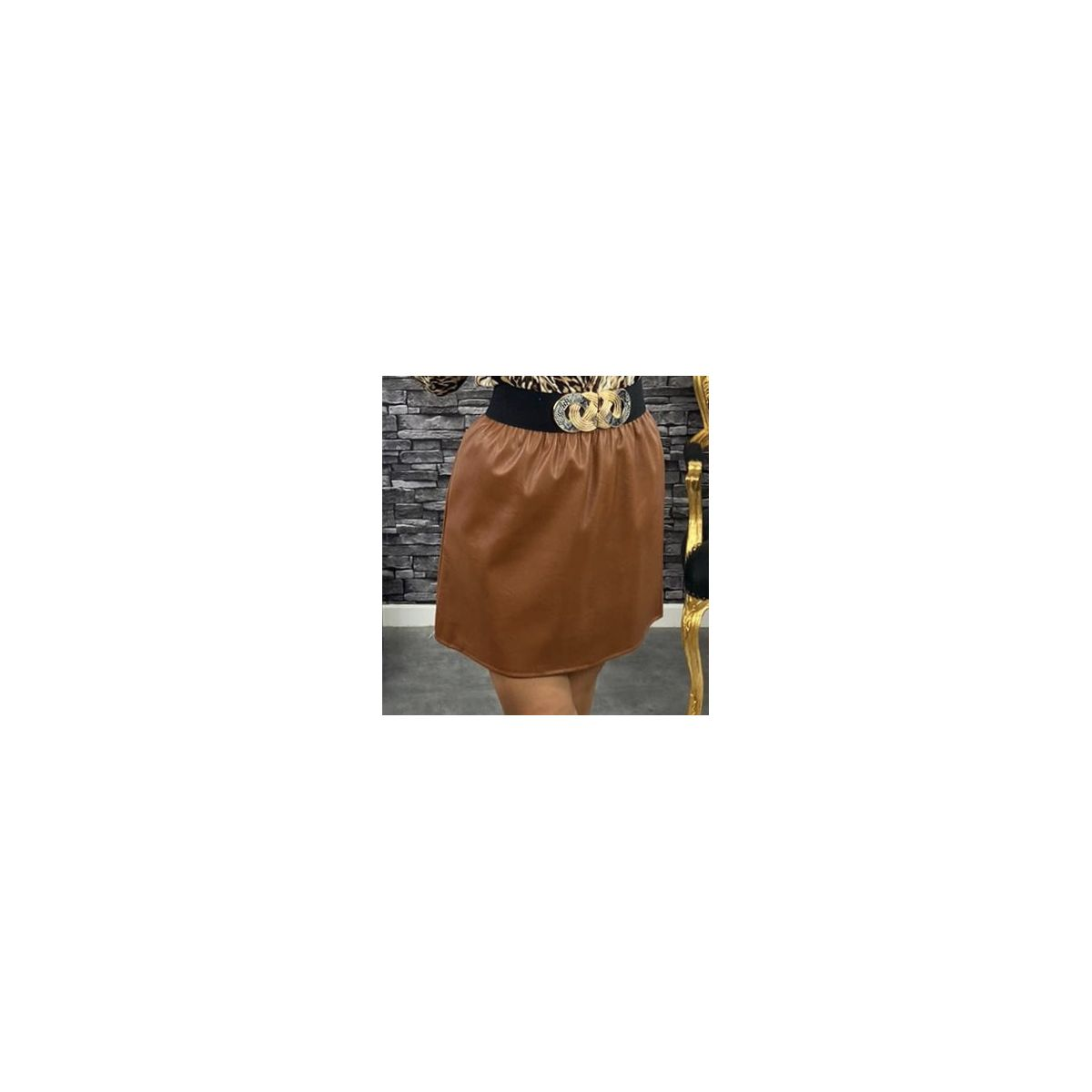 Jupe courte simili-cuir marron