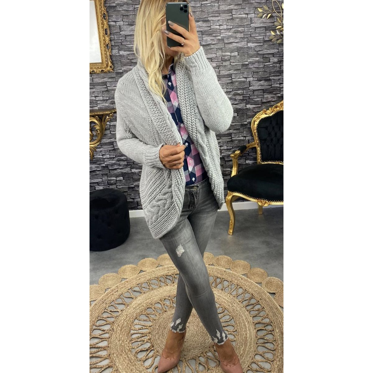 Gilet en grosse maille so-chic gris