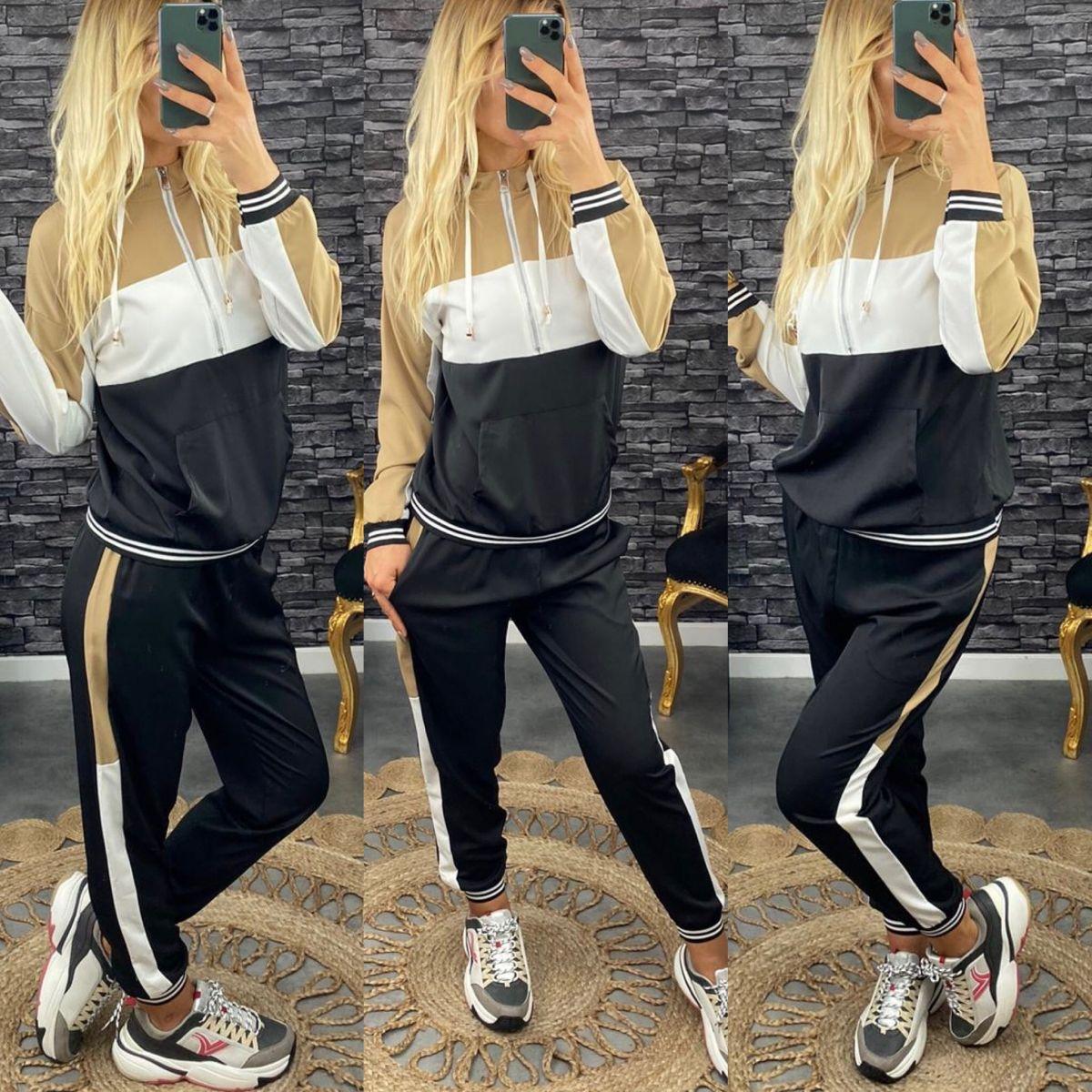 Ensemble jogging sweat beige-noir-blanc 2