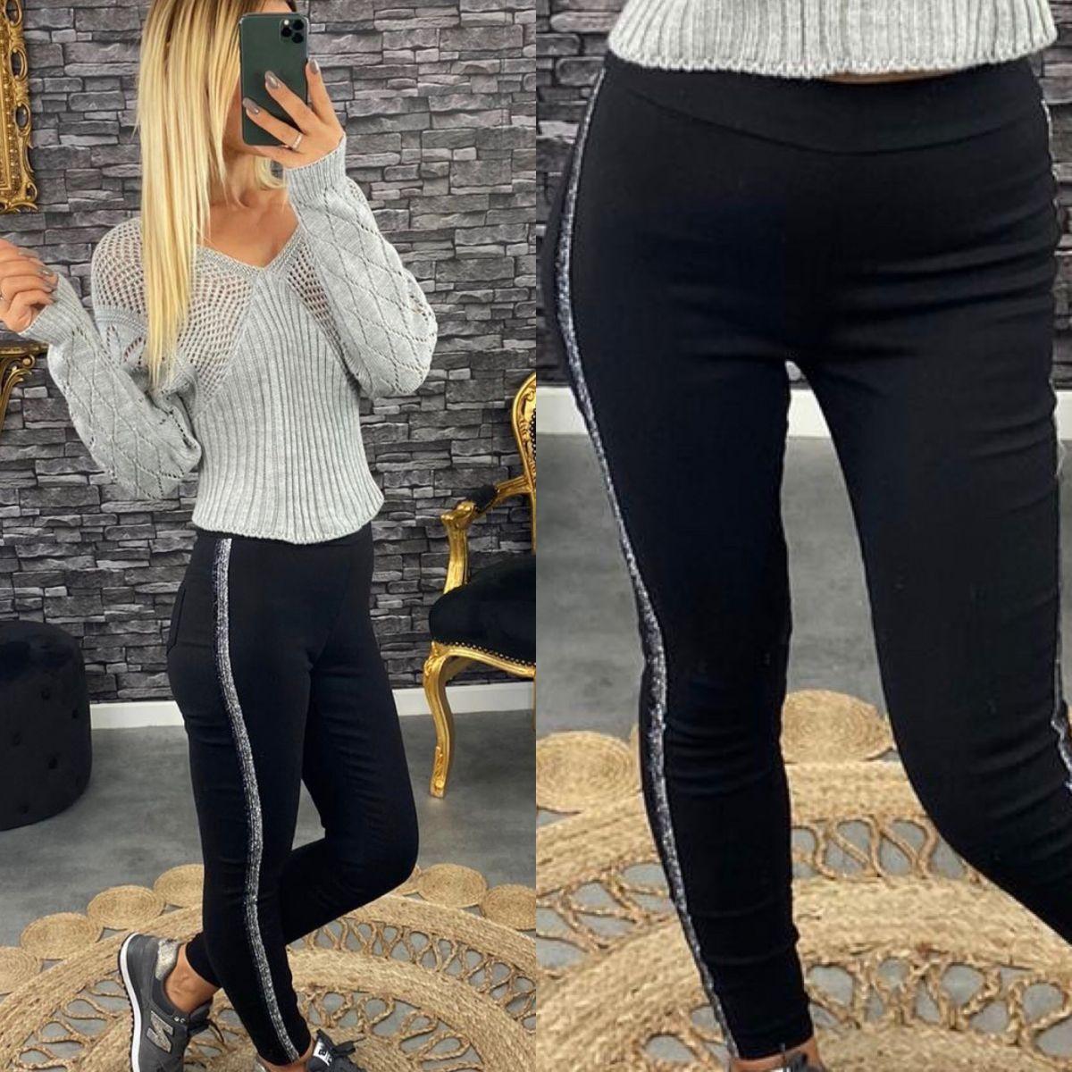 pantalon legging noir et glitter